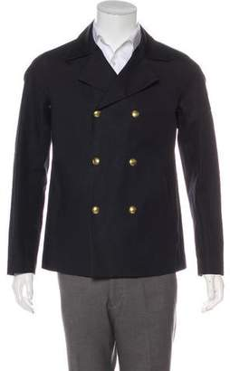 Moncler Gamme Bleu Double-Breasted Waxed Jacket