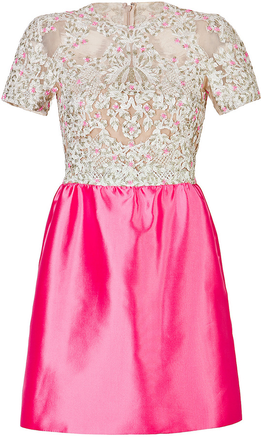 Valentino Silk Embellished Bodice Dress in Ivory and Pink
