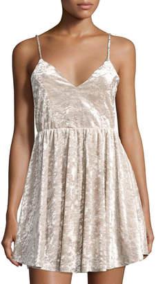 Romeo & Juliet Couture Crushed Velvet Spaghetti-Strap Dress, Gray