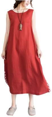 Vincy Show Women's Linen Sleeveless Long Maxi Summer Dresses with Pocket