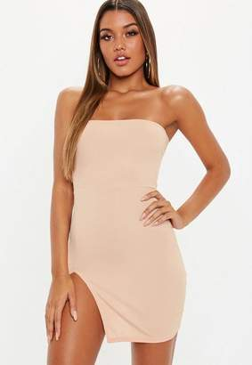 Missguided Sand Bandeau Ribbed Thigh Split Mini Dress