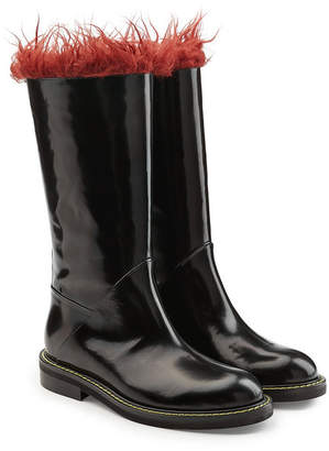 Marni Patent Leather Knee Boots with Shearling Insole