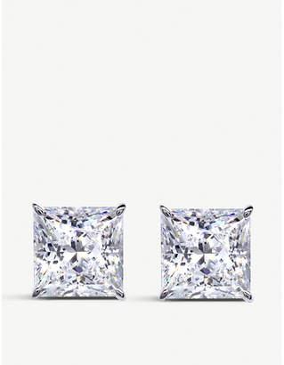 Carat London Princess 9c white-gold and gemstone stud earrings
