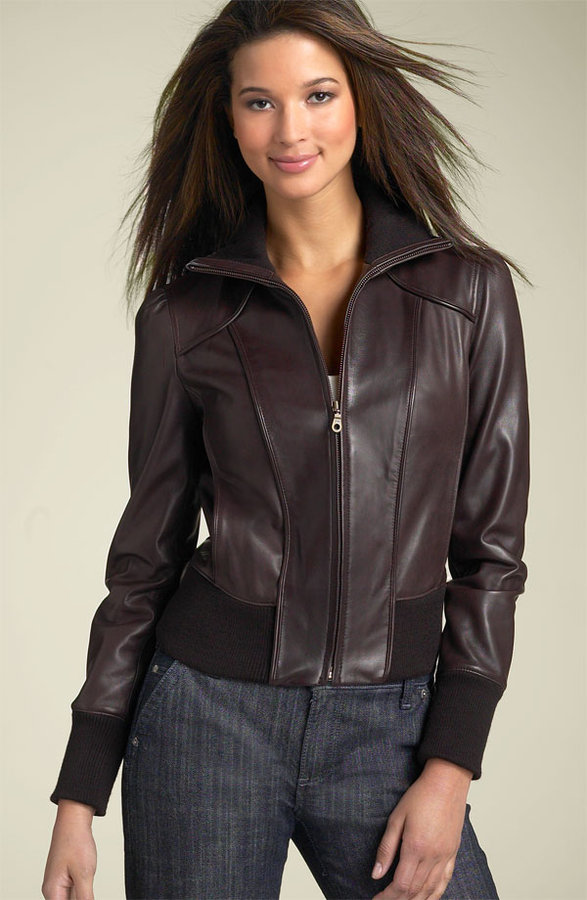Halogen® Leather Jacket