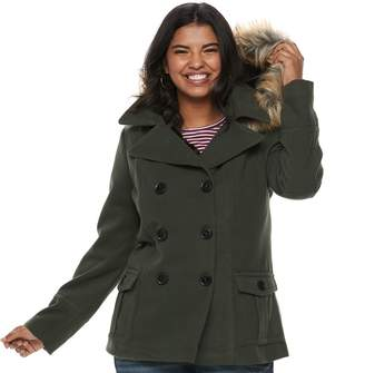 Urban Republic Juniors' Plus Size Wool Double-Breasted Peacoat
