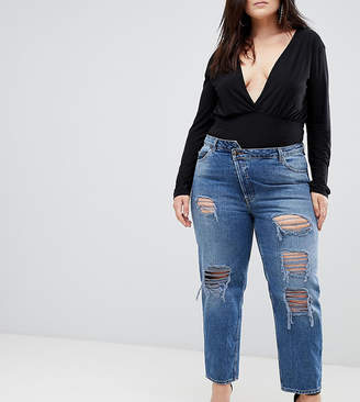 Asos RECYCLED FLORENCE Authentic Straight Leg Jeans in Sasha Dark Stonewash With Deconstructed Waistband