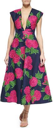 Michael Kors Geranium-Print Deep V-Neck Back-Pleated Dress, Indigo