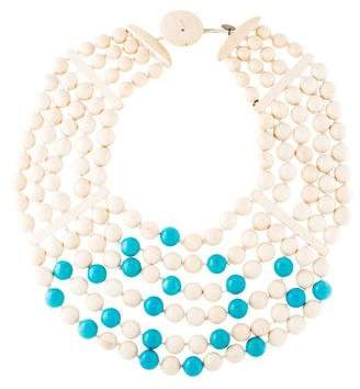 Viktoria Hayman Dyed Howlite & Wood Collar Necklace