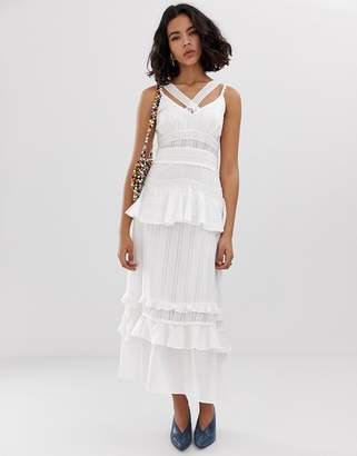 Lost Ink Cami Maxi Dress With Ruffle Layers In Crochet Mix Fabric