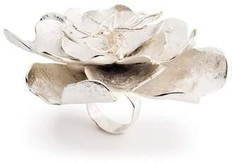 Josie Natori Silver Plated Brass Peony Ring