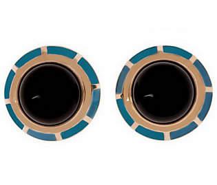 Bronzo Italia Gemstone & Enamel Bold Button Ear
