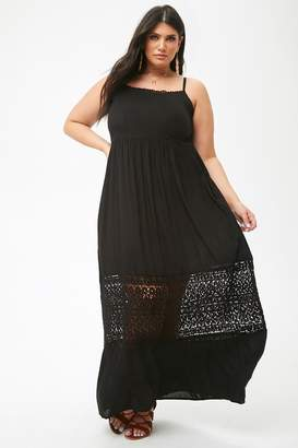 Forever 21 Plus Size Boho Me Crochet-Trim Maxi Dress