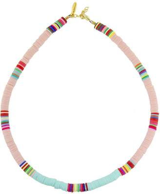 ALLTHEMUST Light Pink and Light Blue Heishi Bead Necklace - Yellow Gold