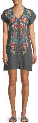 Johnny Was Vernazza Embroidered Linen Tunic Dress