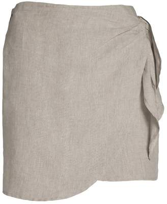 Dor Raw Luxury - Cheese and Grapes Linen Skirt Oatmeal