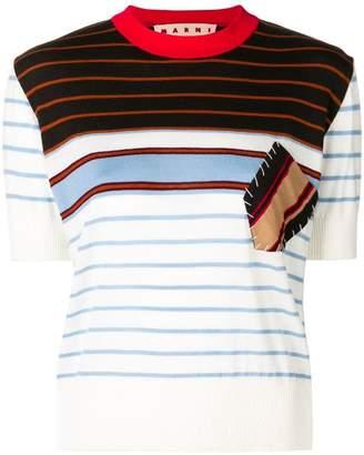 Marni contrast-patch striped sweatshirt