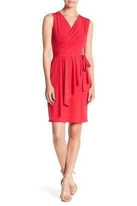 London Times Matte Jersey Faux Wrap Dress (Petite)