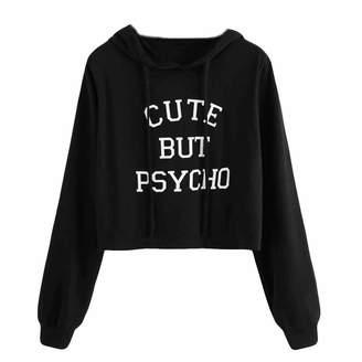 Elogoog Hoodie Women Long Sleeve Print Cute But Psycho Letters Hoodies Crop Tops Sweatshirt Pullover (XL, )