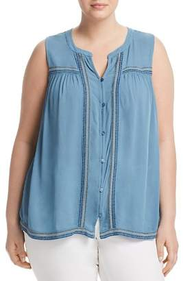 Lucky Brand Plus Embroidered Button-Front Tank