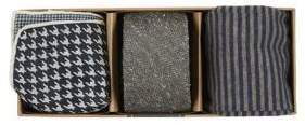 The Tie Bar Silk Tie Houndstooth Pocket Square and Striped Socks Set