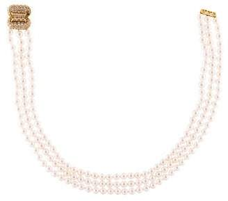 Mikimoto 18K Pearl & Diamond Beaded Necklace