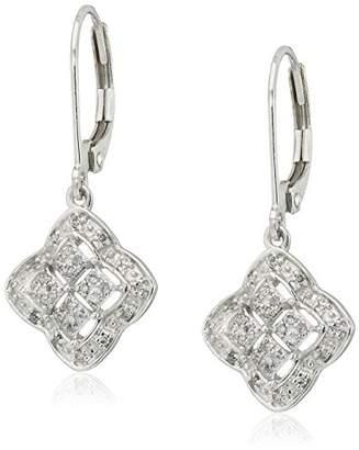 10k White Gold Clover Square Diamond Drop Earrings (1/10cttw