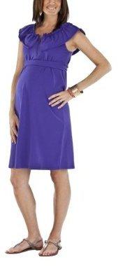 Moody Mamas Maternity Sleeveless Flounce Neck Dress - Purple