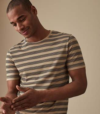 Reiss FLINTOFF STRIPED CREW NECK T-SHIRT Light Taupe