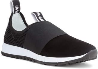 Jimmy Choo Oakland Black Suede Logo Sneakers
