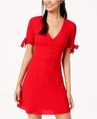 B. Darlin Juniors' Tie-Sleeve Fit & Flare Dress