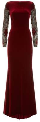 Badgley Mischka Velvet Boat Neck Gown