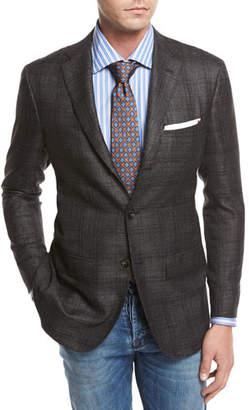 Kiton Windowpane Cashmere-Silk-Linen Sport Coat, Gray/Camel
