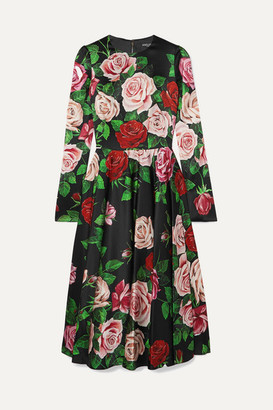 Dolce & Gabbana Floral-print Silk-blend Satin Dress - Black