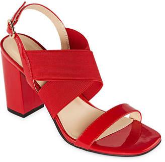 Liz Claiborne Womens Tempo Elastic Open Toe Block Heel Pumps