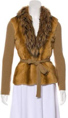 Prada Fur-Paneled Wool & Cashmere Cardigan Brown Fur-Paneled Wool & Cashmere Cardigan