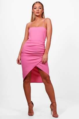 boohoo Square Neck Wrap Skirt Midi Dress