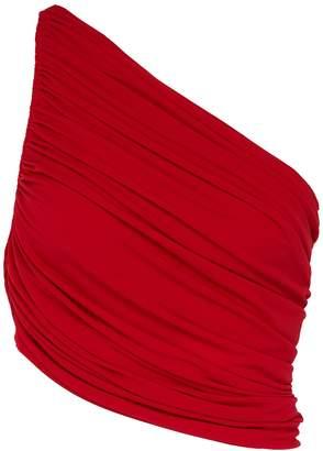 Norma Kamali 'Diana' ruched one-shoulder bikini top
