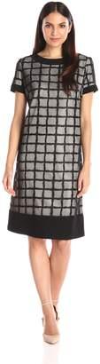 Le Bos Women's Plaid Pattern Short Sleeve Dress, Black/Nude