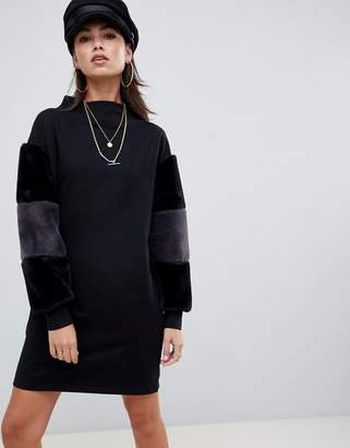 Asos Design DESIGN funnel neck sweat dress with faux fur sleeves