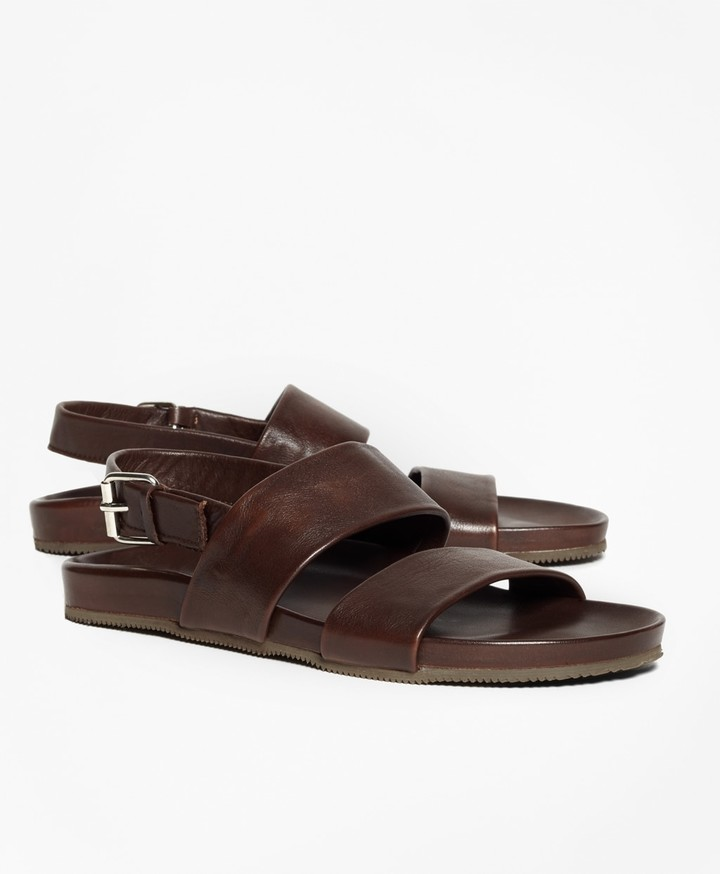 Brooks Brothers Double Strap Leather Sandals