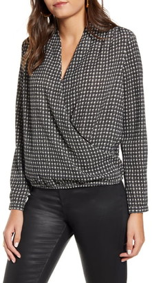 Vero Moda Individual Check Long Sleeve Wrap Blouse