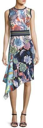 Peter Pilotto Asymmetric Mixed Floral-Print Dress