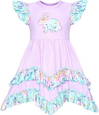 Mia Belle Girls' Easter Themed Flutter Sleeve 2-Tier Ruffled Dress