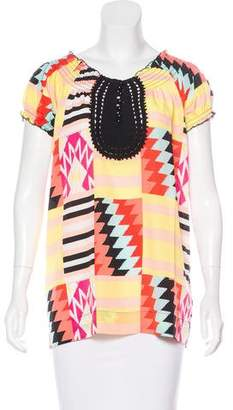 BCBGMAXAZRIA Printed Short Sleeve Top