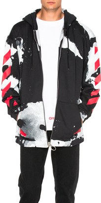OFF-WHITE White Liquid Spots Hoodie $578 thestylecure.com