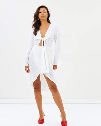 Missguided Plunge Knot Front Midi Dress