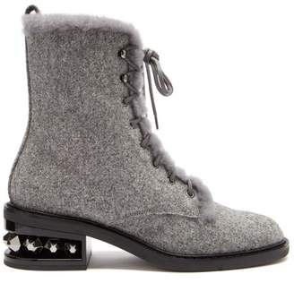Nicholas Kirkwood Suzi Stud Embellished Combat Boots - Womens - Grey