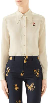 Gucci Floral Embroidered Silk Crepe de Chine Blouse