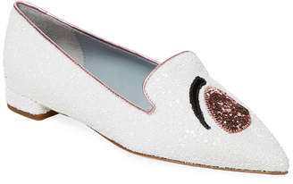 Chiara Ferragni Eye Detail Point Toe Flat