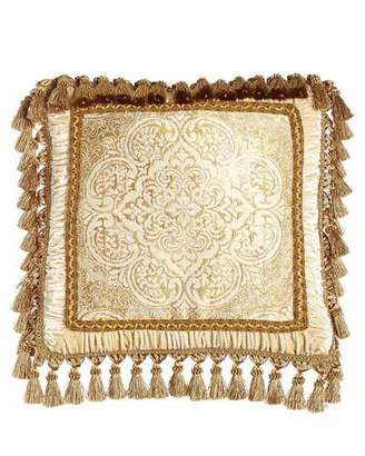 "Isabella Collection by Kathy Fielder Framed Medallion Pillow with Tassel Trim, 20""Sq."